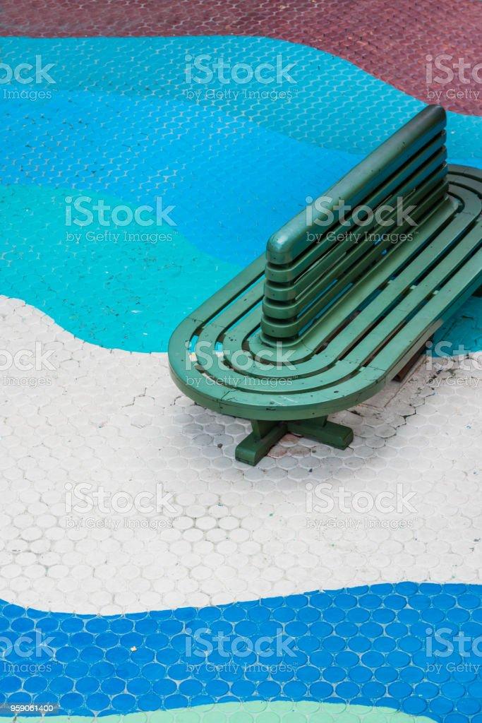 Top view of vintage bench On the block waveform floor. stock photo