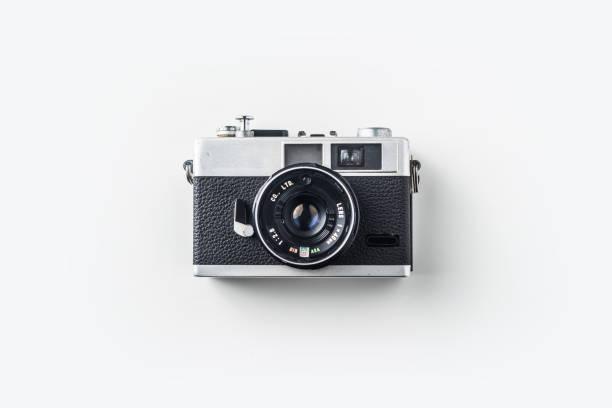 Top-Ansicht von Vintage-Kameras auf weißem Hintergrund – Foto