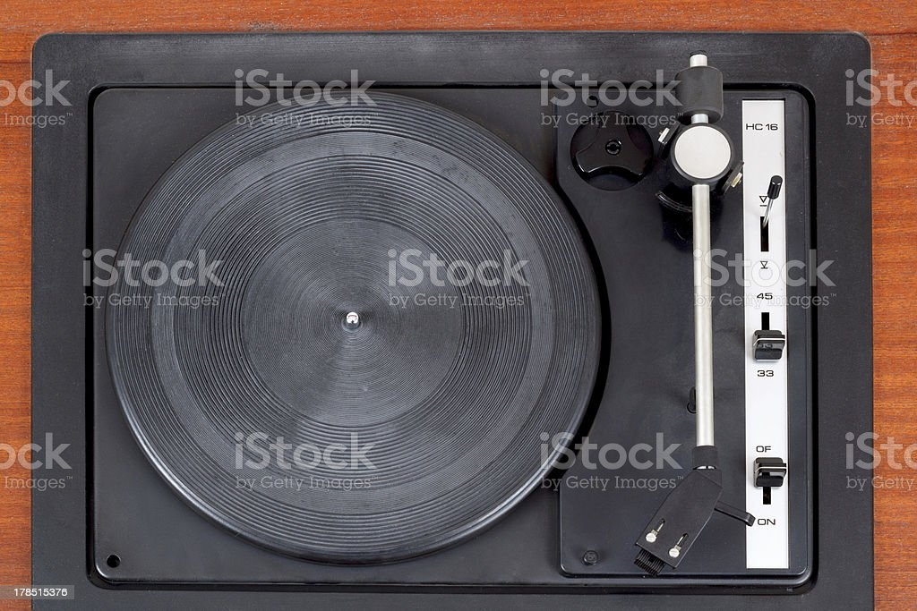 top view of vintage gramophone player royalty-free stock photo