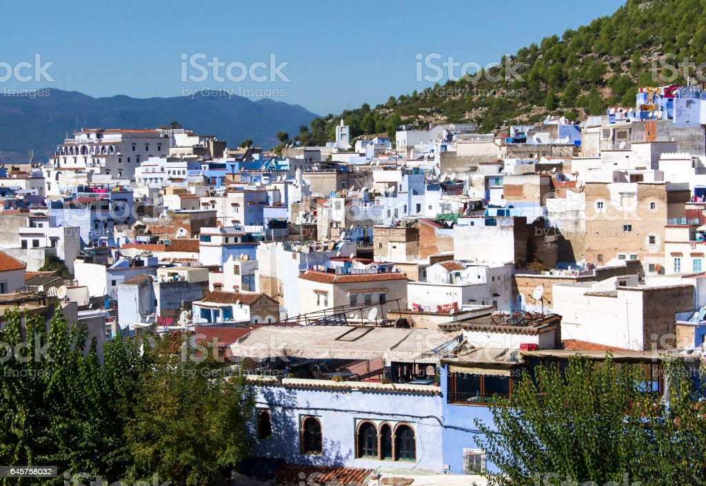 Top view of white and blue houses of Chefchaouen, Morocco stock photo