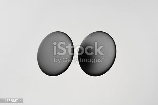istock top view of white badge on white background 1177758714