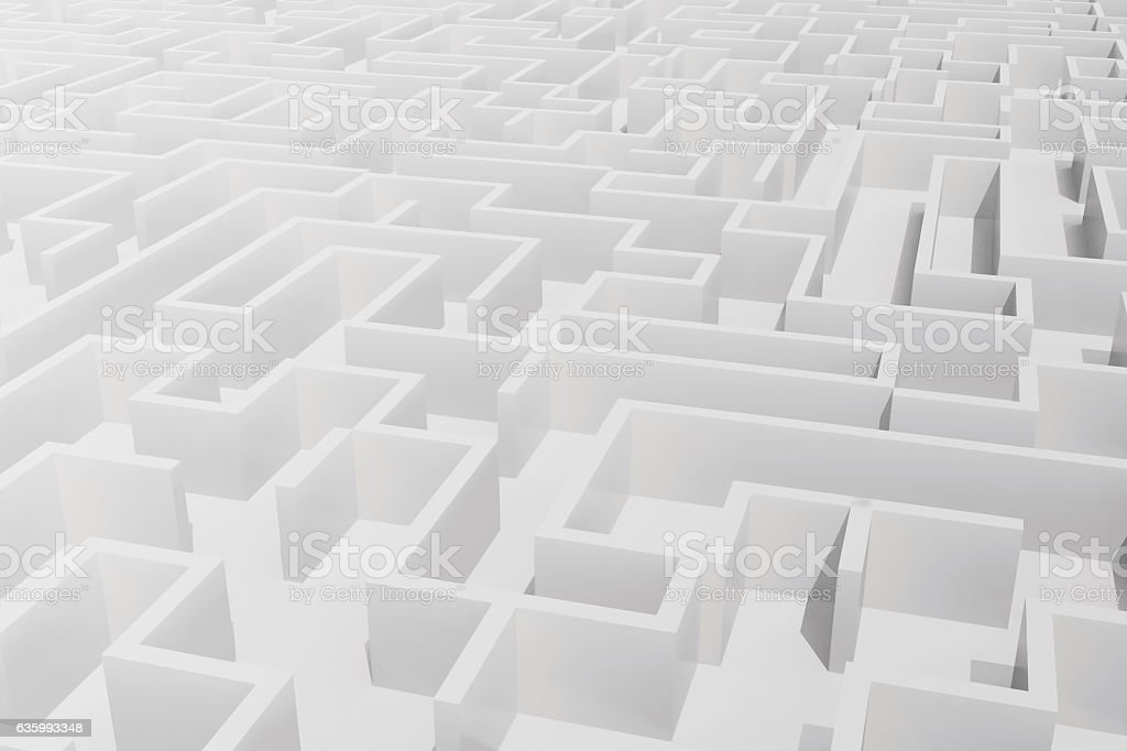 Top view of white labyrinth. 3d rendering stock photo