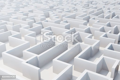 istock Top view of white labyrinth. 3d rendering 635993430