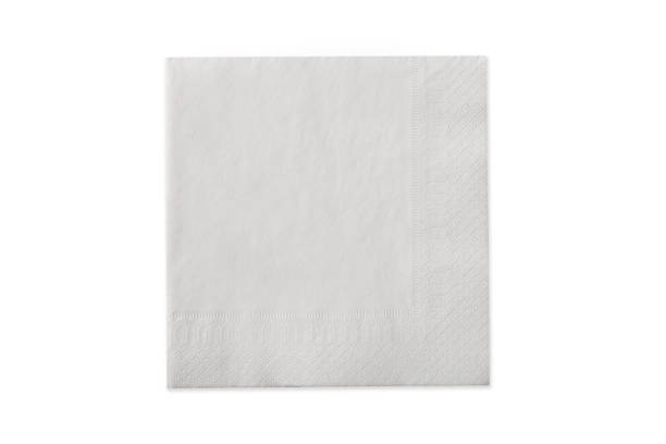 Top view of white paper napkin isolated on white stock photo