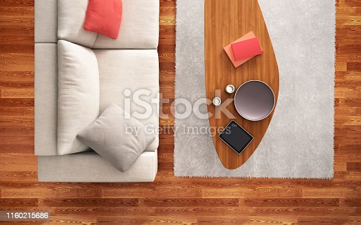 istock Top view of white sofa in interior design 1160215686