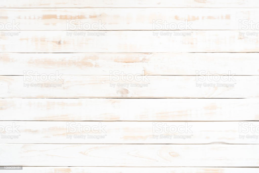Picture of: Top View Of White Wood Texture Background Wooden Table Stock Photo Download Image Now Istock