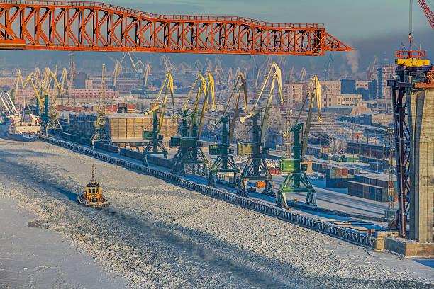 Top view of winter sea port of Saint Petersburg, Russia. stock photo