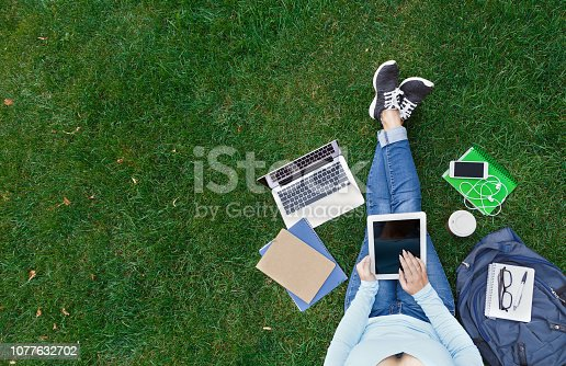 Top view of girl sitting in park with laptop, tablet, smartphone, backpack and coffee. Copy space on screens