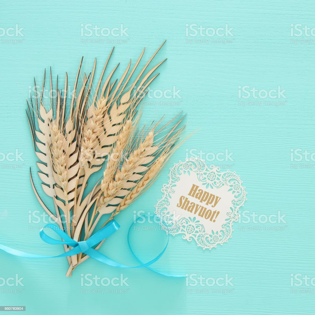 Top View Of Wooden Wheat Crop Decoration Over Mint Background ...