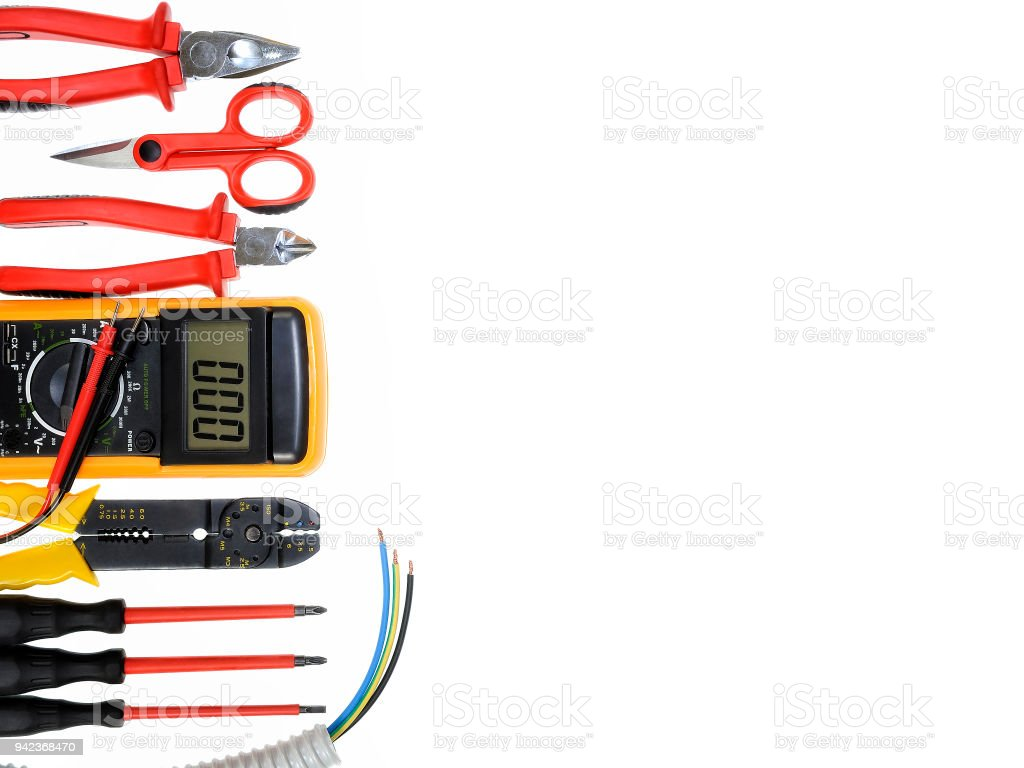Top View Of Work Tools For Residential Electrical Installation On ...