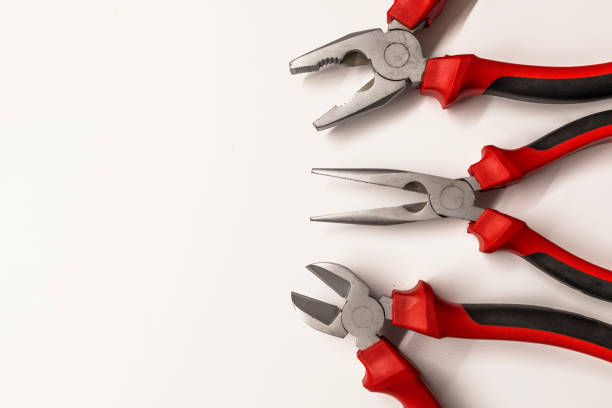 Top view of Working tools stock photo