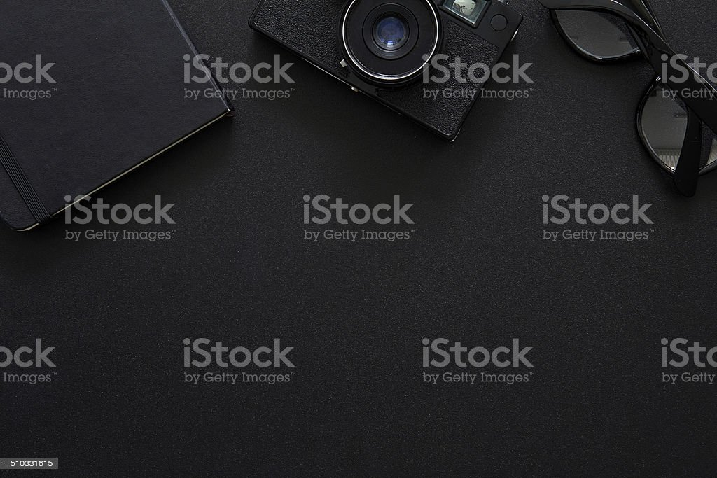 Top view of workplace Photographer stock photo