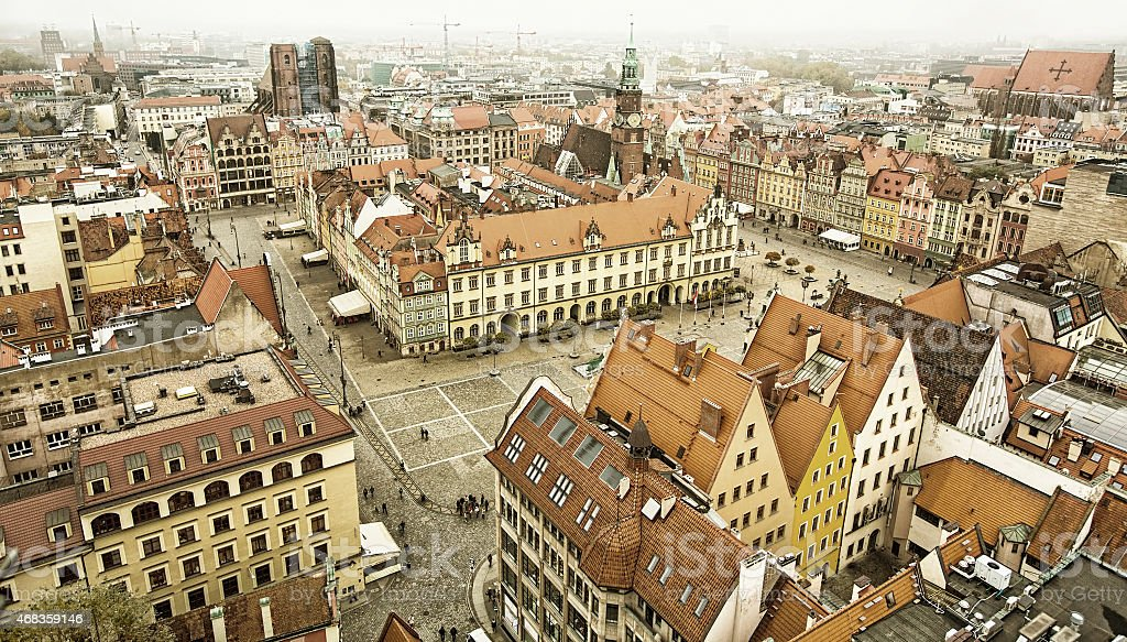 Top view of Wroclaw old town. royalty-free stock photo