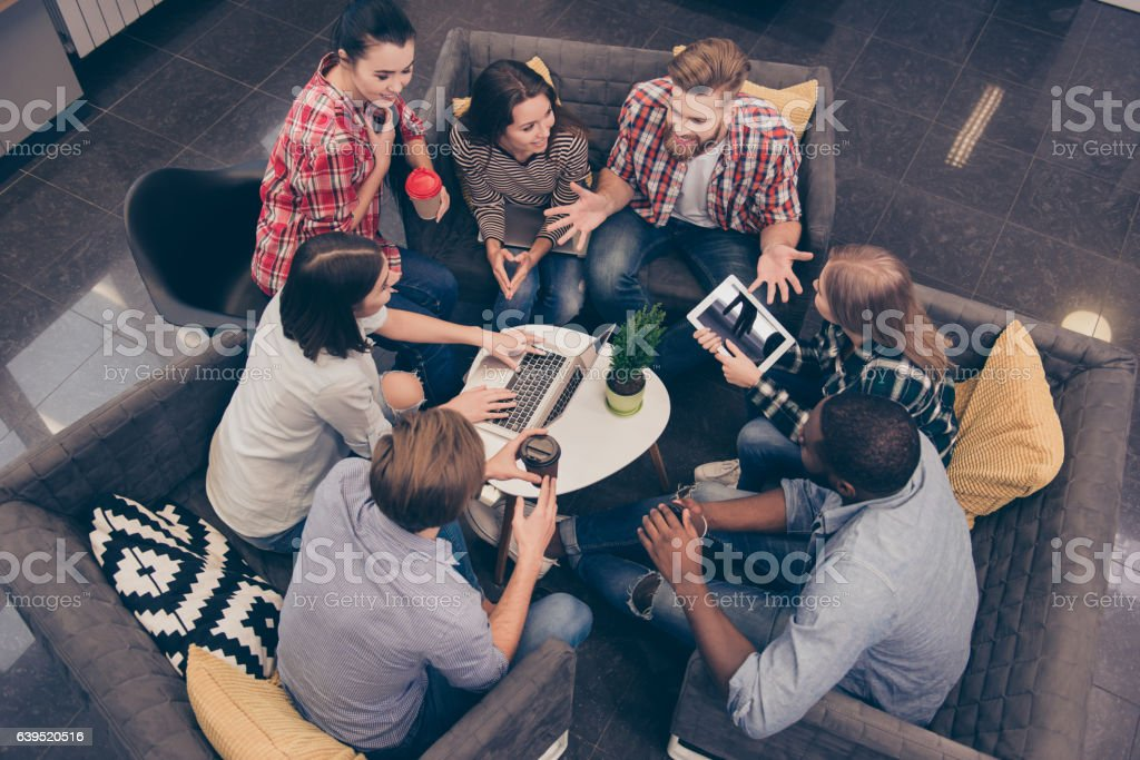 Top view of young freelancer discussing future project - foto de stock