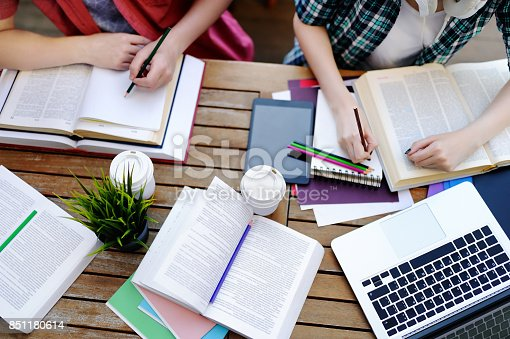 istock Top view of young students with books and notes in cafe 851180614