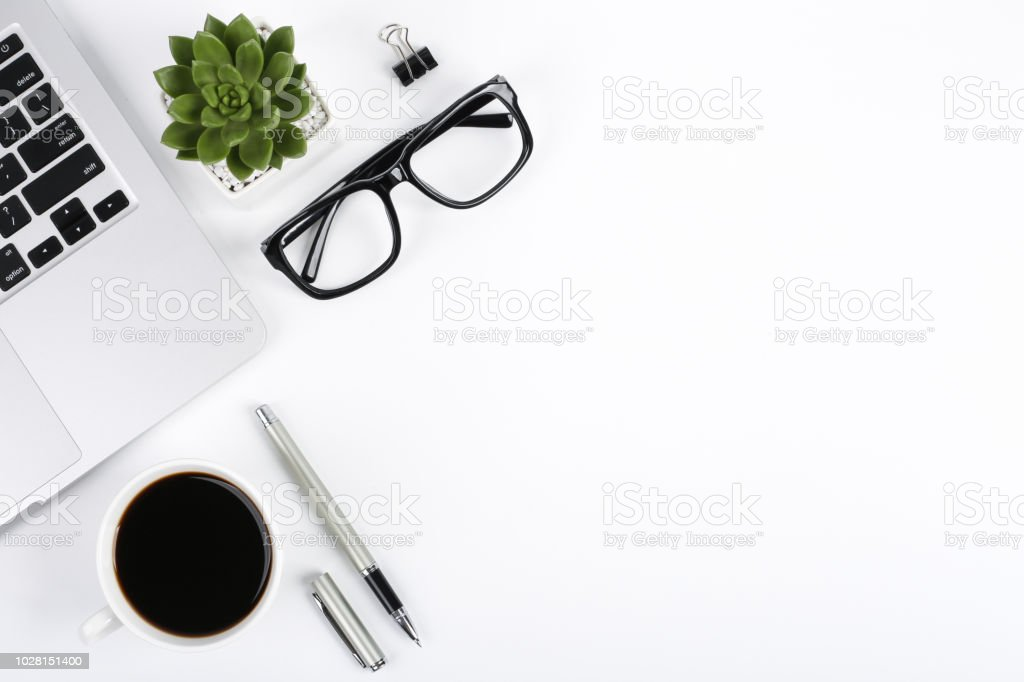 Top View Office Table Desk Stock Photo - Download Image Now