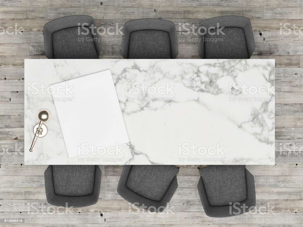 Top view office table with mock up poster, stock photo