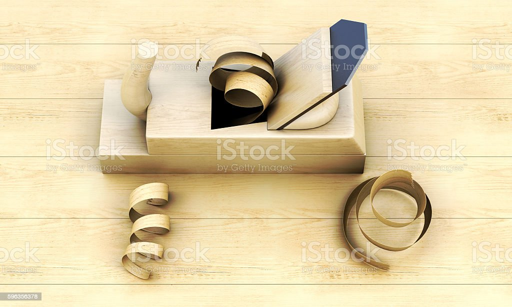 Top view old plane on wooden board. 3d illustration royalty-free stock photo