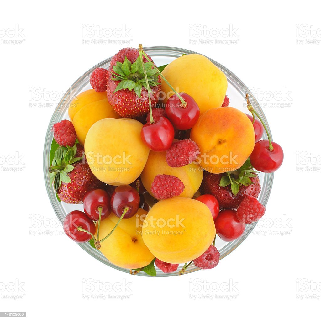 Top view on a bowl with berries royalty-free stock photo
