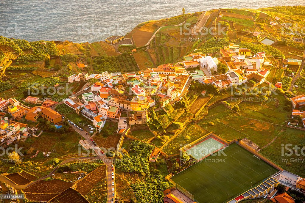 Top view on Agulo coastal village in Spain stock photo
