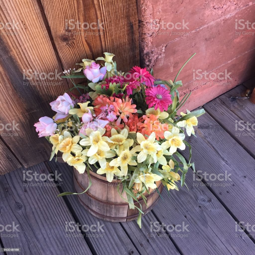 Top View On Beautiful Narcissus And Fresh Multi Colored Flowers In