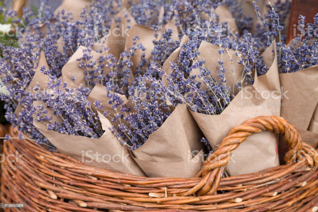 Top view on beutiful fresh lavender flowers in the basket on the street market. Bunches of lavender in craft paper. Romantic flowers. stock photo