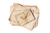 istock Top view on bunch of empty old vintage yellowed paper sheets or letters with rope 1130632580