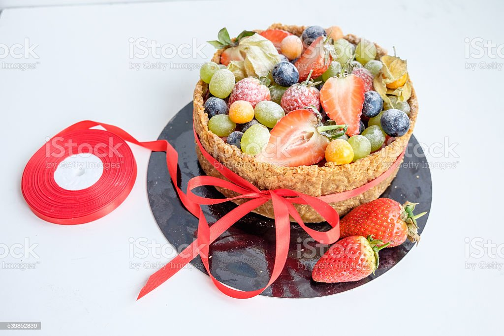 Top View On Cake Decorated By Fruits Stock Photo More Pictures Of