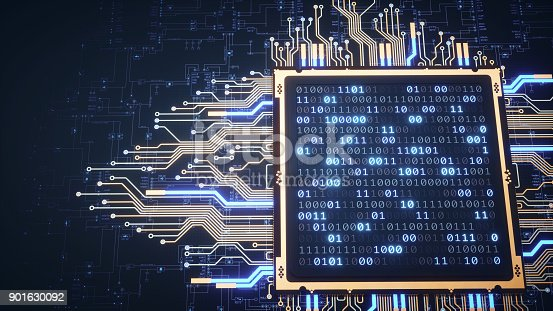istock Top View On CPU With Binary Numbers And Blueprint 901630092
