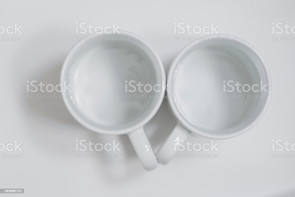 Top view on empty   tea cup. stock photo