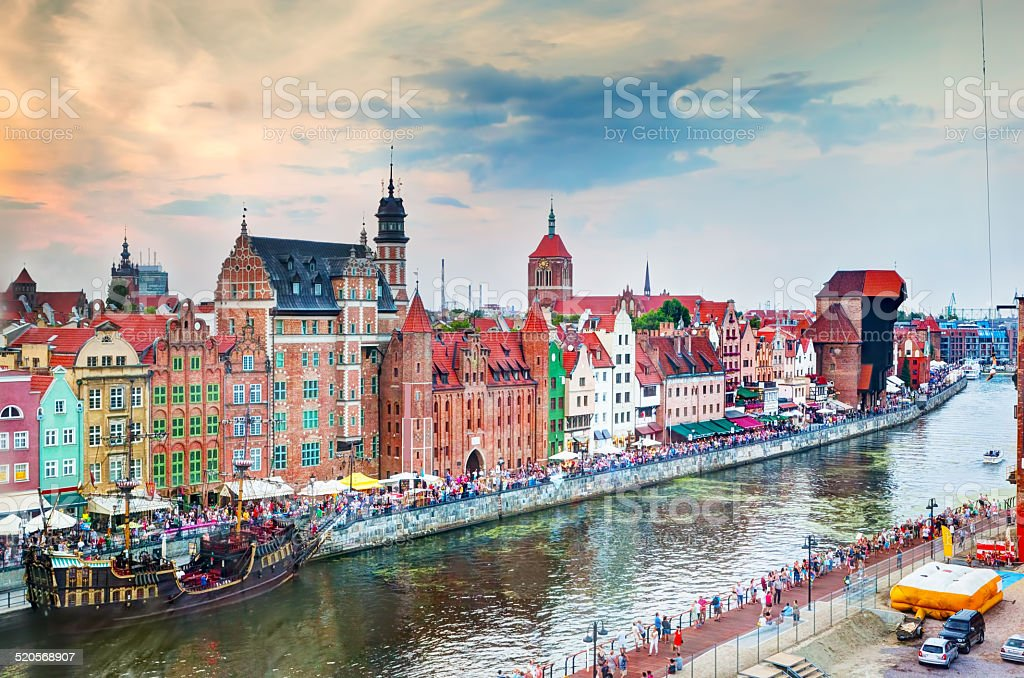 Top view on Gdansk old town and Motlawa river stock photo
