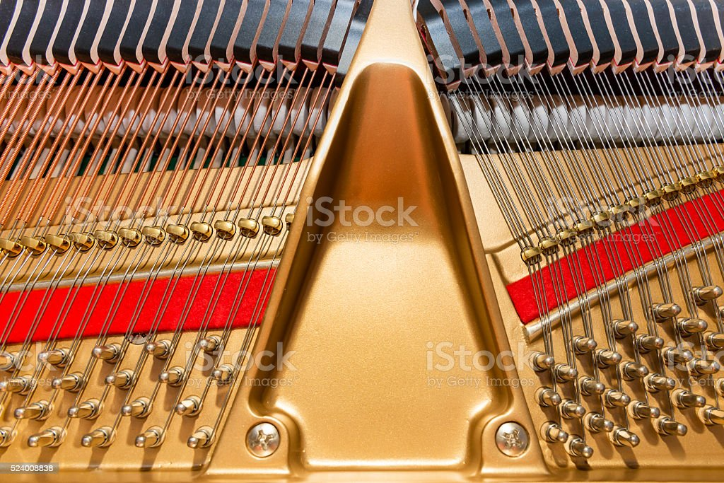 Top view on grand piano mechanism stock photo