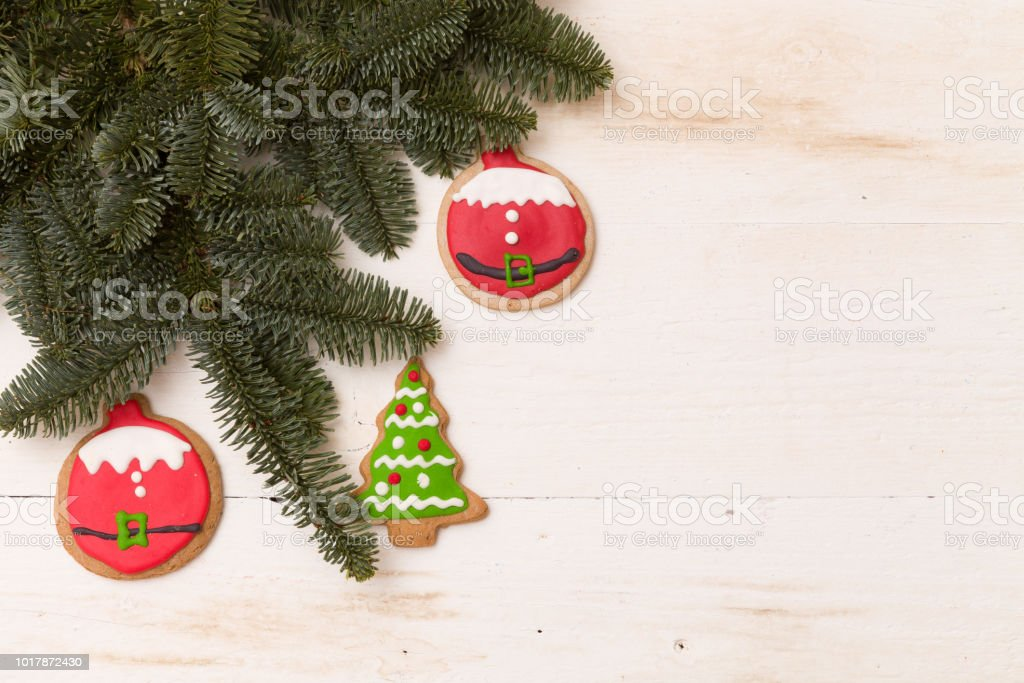 Christmas Tree Top View.Top View On Homemade Christmas Tree Cookie On White Wooden