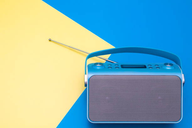 Top view on new digital blue radio,which it is stylized art retro style radio. stock photo