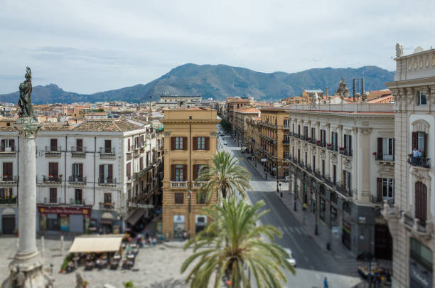 Top view on Piazza San Domenico in Palermo, Italy stock photo