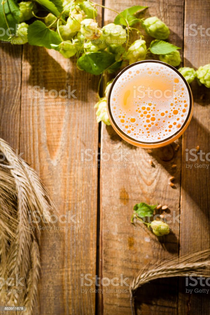Top view on pint of beer with ingredients for homemade beer. stock photo
