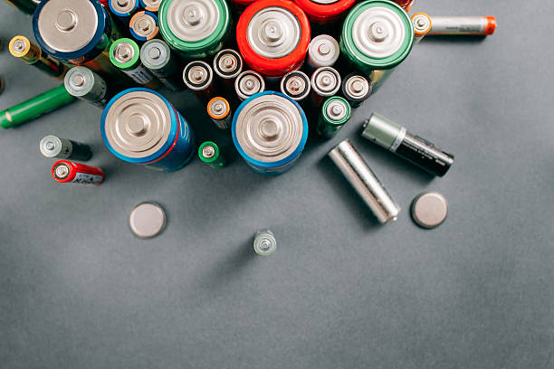 Top view on portable batteries, free space stock photo