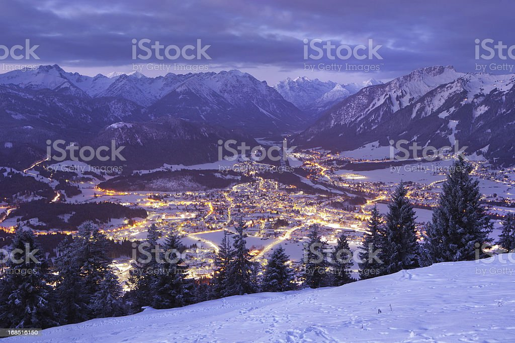 top view on reutte in the dawn, tirol, austria, winter stock photo