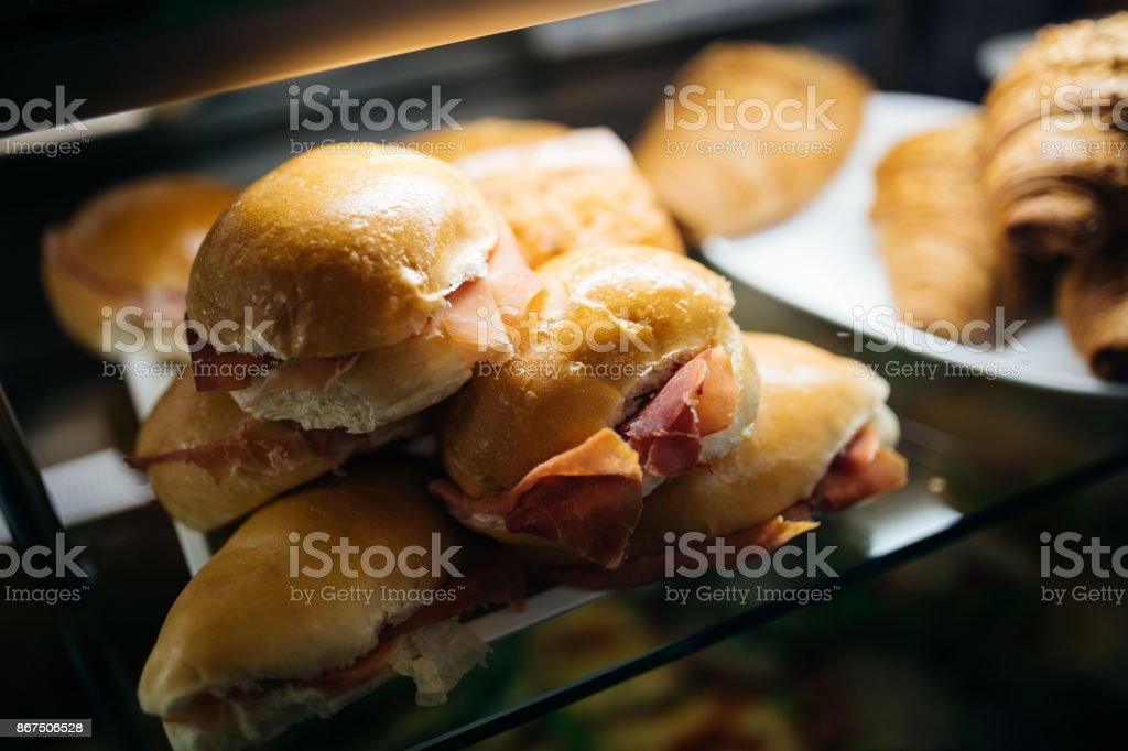 Top view on sandwiches on table in cafe. Fast food restaurant menu item. Fresh baked sandwich. stock photo