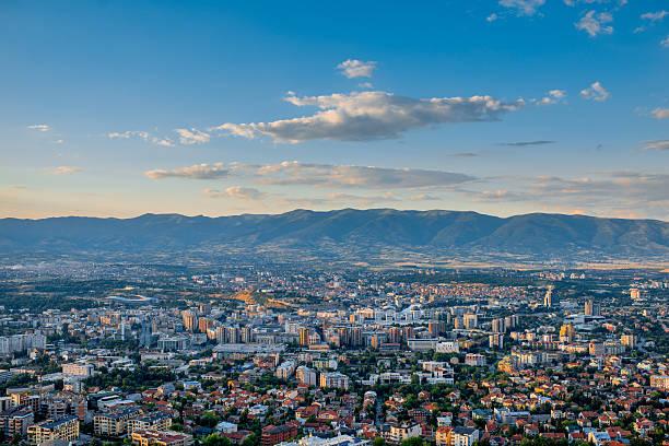 top view on skopje city in macedonia - üsküp stok fotoğraflar ve resimler