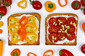 Slices of toast with helathy vegetable topping