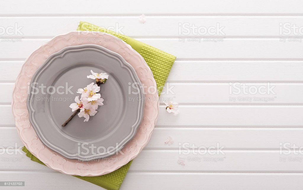 Top view on table with plates
