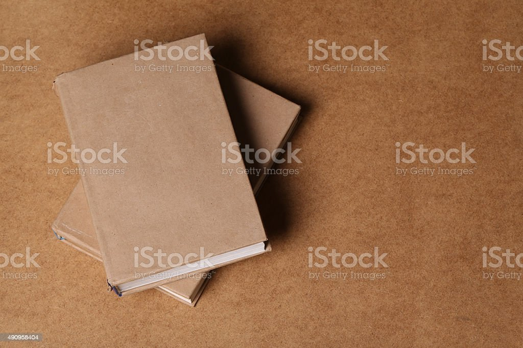 Top view on the books lying wood table stock photo