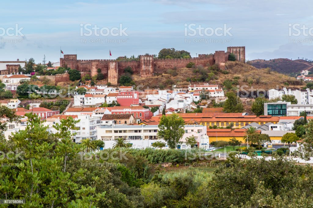 Top view on the city of Silves, Portugal stock photo