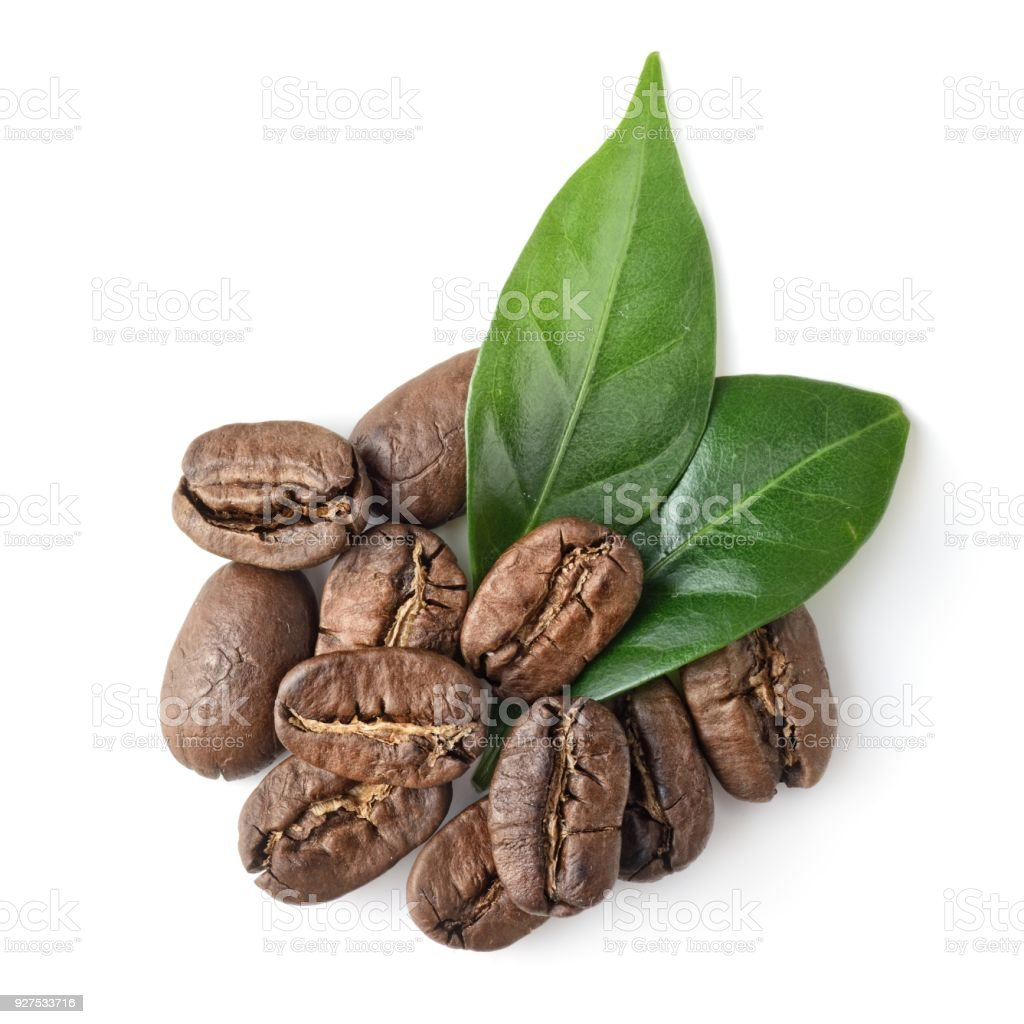 top view on the coffe beans with leaves on white stock photo