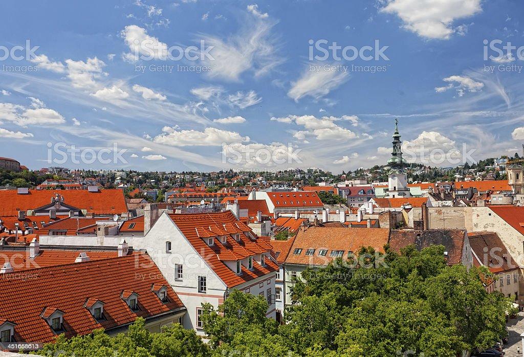 top view on the historical center of Bratislava, Slovakia stock photo