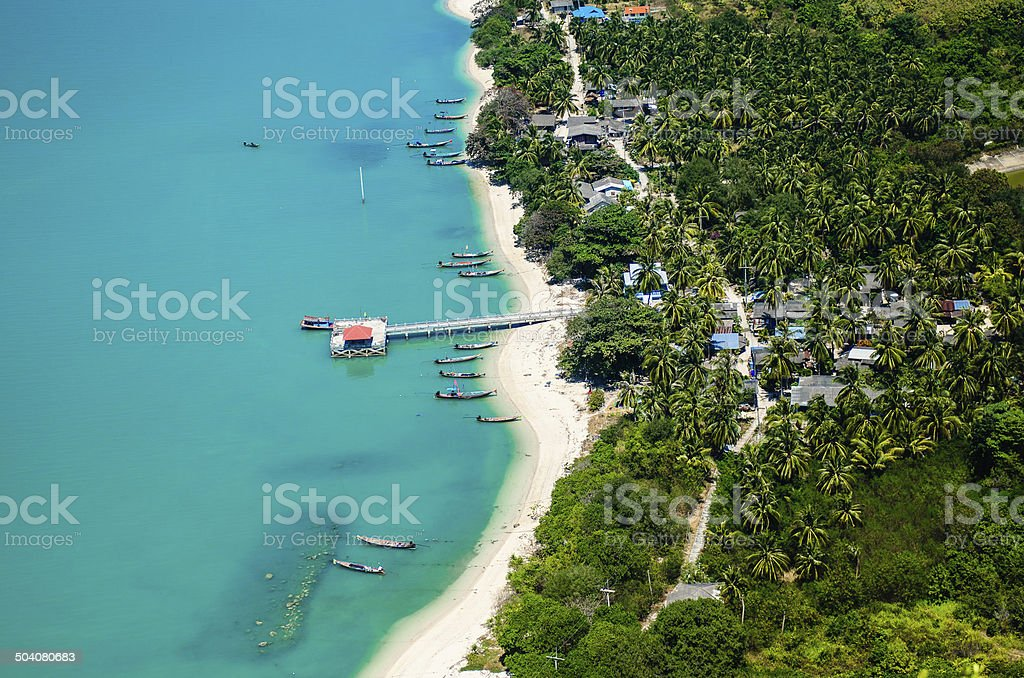 Top view on the mountain of fishing village on small island. stock photo