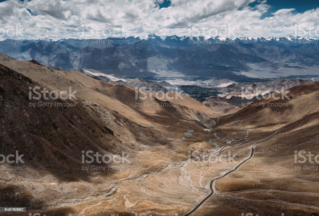 Top view on the mountain road to Leh Ladakh stock photo