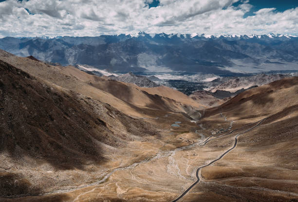 Top view on the mountain road to Leh Ladakh Top view on the mountain road to Leh Ladakh Afghanistan stock pictures, royalty-free photos & images