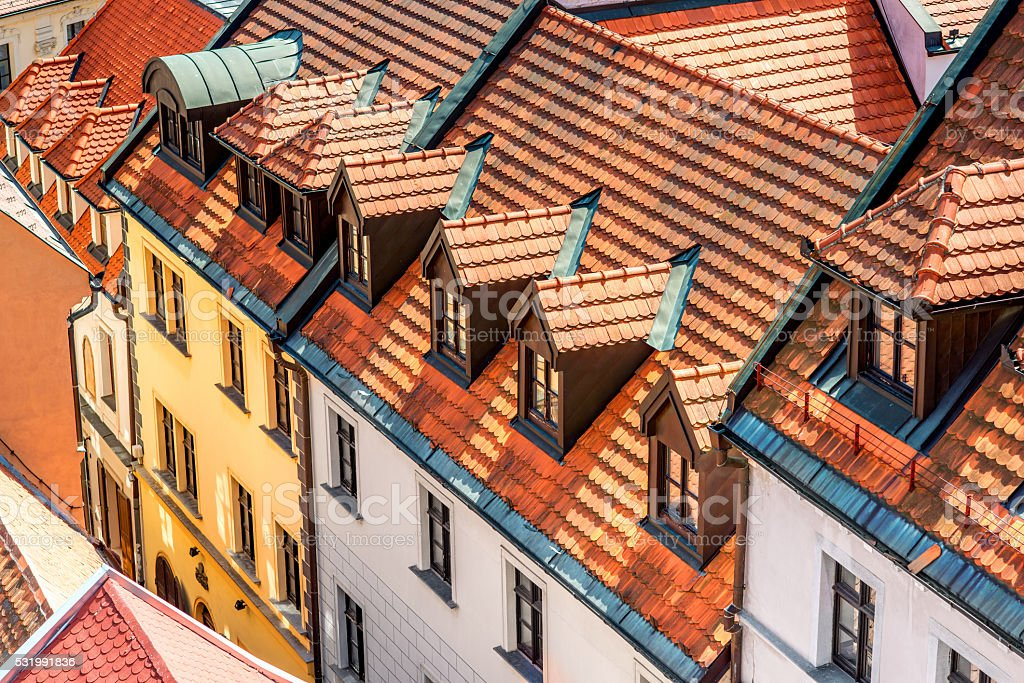 Top view on the old buildings in Bratislava stock photo
